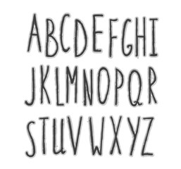 Hand-drawn stylish font.  Pencil sketch