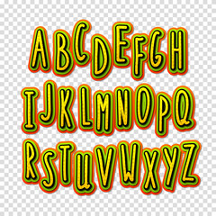 Creative high detail font. The alphabet in the style of comics.