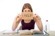 student girl studying for university exam asking for help - 78998704