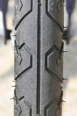 part of the tire on a bicycle.