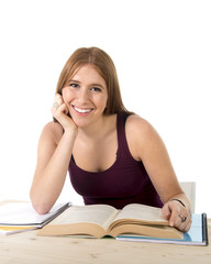 young beautiful college student girl studying happy confident