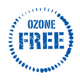 Blue vector circles grunge stamp OZONE FREE poster