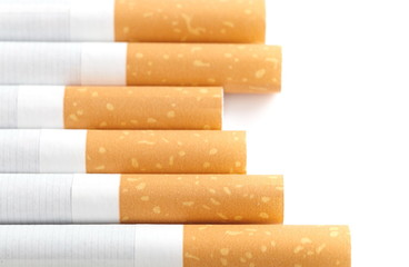 Close - up Row of Cigarette on white background