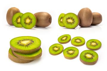 Composite of kiwi fruit isolated on white background