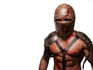 Gladiator in helmet with muscular body.