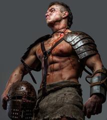 Man in gladiator armor.