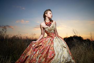 Beautiful girl in a long dress