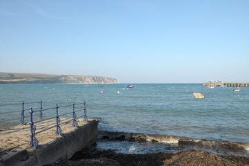 Stone quay on seafront, Swanage, Dorset