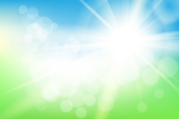 Nature sunny abstract summer background with sun