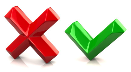 Red and green check mark signs