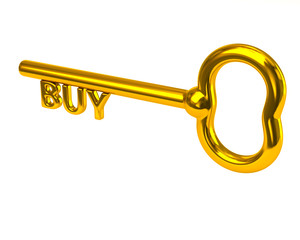 Golden key with word buy