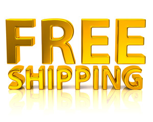Golden free shipping icon