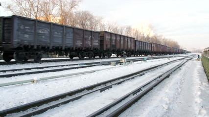 rail road in winter city near business center