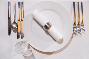 Elegant dinner table with vintage cutlery