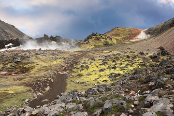 Rhyolite mountains smoldering  heat