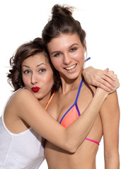 Two girls, emotion, exited, happy, surprised, models, jeans