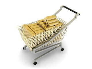 Stacked gold bars in  shopping cart,  on white background
