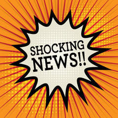 Comic explosion with text Shocking News, vector
