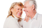 Close up of happy senior couple in love. Isolated over white