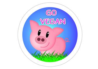 Go Vegan - Aufkleber - Sticker / Schwein