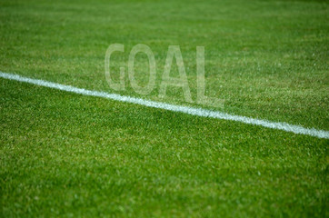 Football Goal text on grass with white lane