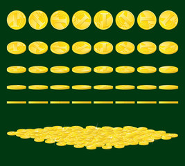 Golden coins set