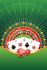 Abstract background with roulette, playing cards and dices