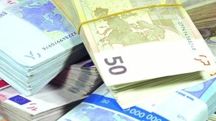 Rotating Euro Banknotes as not loopable 4K UHD footage