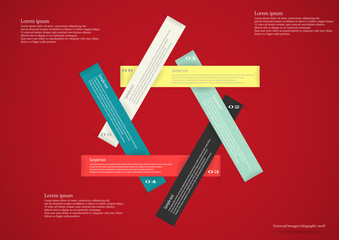 Infographic with six ribbons red