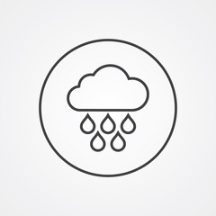 cloud rain outline symbol, dark on white background, logo templa