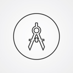 compasses outline symbol, dark on white background, logo templat