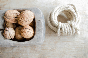 Walnuts and rope
