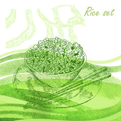Rise set. Hand drawn plate with rise porridge