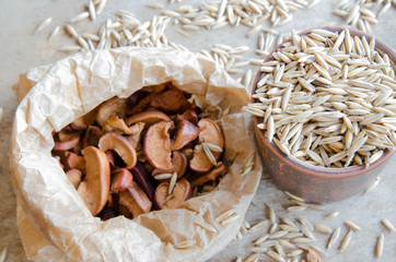 Grain,dry apples and walnuts