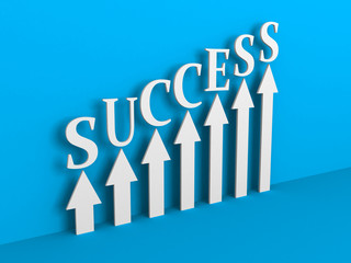 SUCCESS Arrows Rising Chart on Blue Background. Business Concept