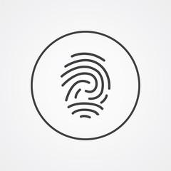 fingerprint outline symbol, dark on white background, logo templ