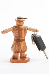 Porte clé avec sujet en bois breton