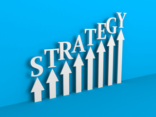 STATEGY Arrows Rising Chart on Blue Background. Business Success