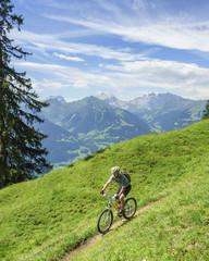 Mountainbiker in alpiner Landschaft