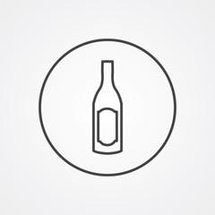wine bottle outline symbol, dark on white background, logo templ