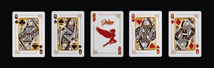 Spielkarten - Poker - Damen Vierlinge im Spiel
