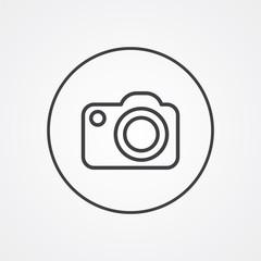 photo camera outline symbol, dark on white background, logo temp