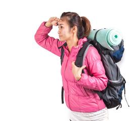 female asian  trekking. Isolated on white