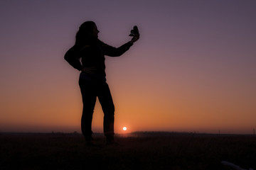 Sunset photo girl