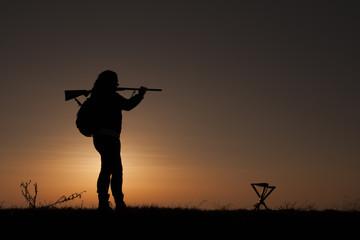 Women sunset hunting