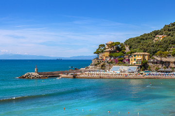 Town of Recco and Mediterranean sea in Italy.