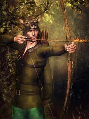 Baśniowy myśliwy z łukiem i płonącą strzałą