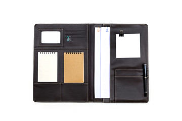 Black leather Folder with note paper isolated
