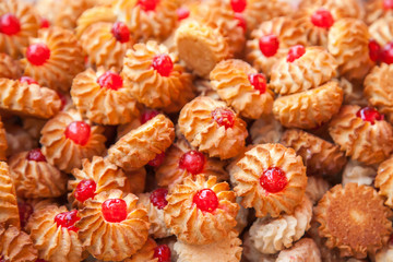 Biscuit cookies with jam on a counter of shop