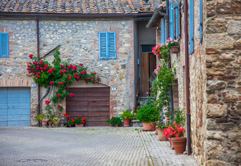 Picturesque old court yard in a small town in Italy